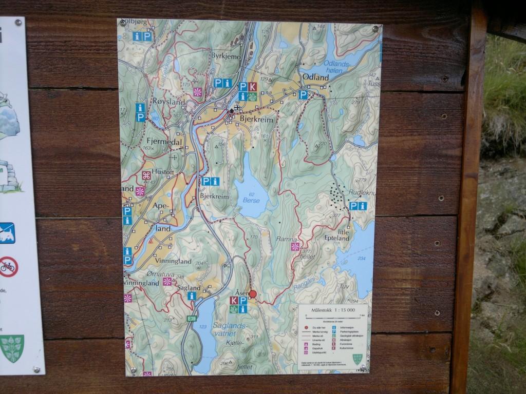 Flott kart som viser alternative ruter også