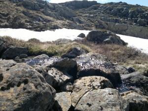Snø og rennende vann