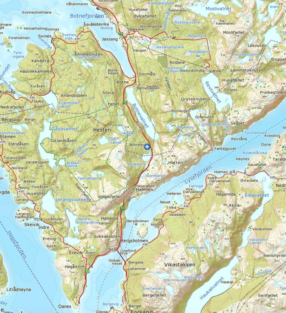 Klikk på kart for større visning. Turen starter fra det blå og hvite krysset