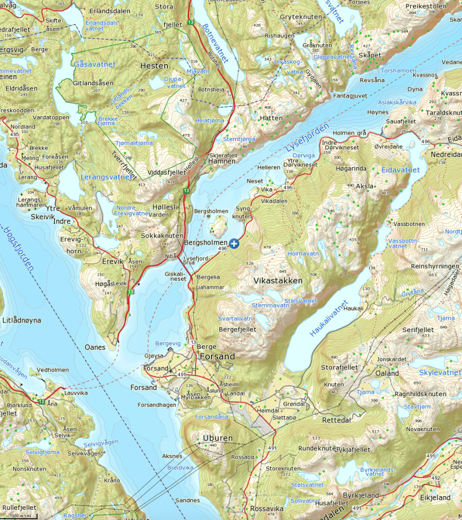 Klikk på kartet for å se det større. Turen starter ved det blå og hvite krysset.