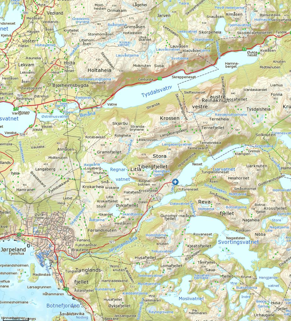 Klikk på kartet for å se det større. Turen starter ved det blå og hvite krysset