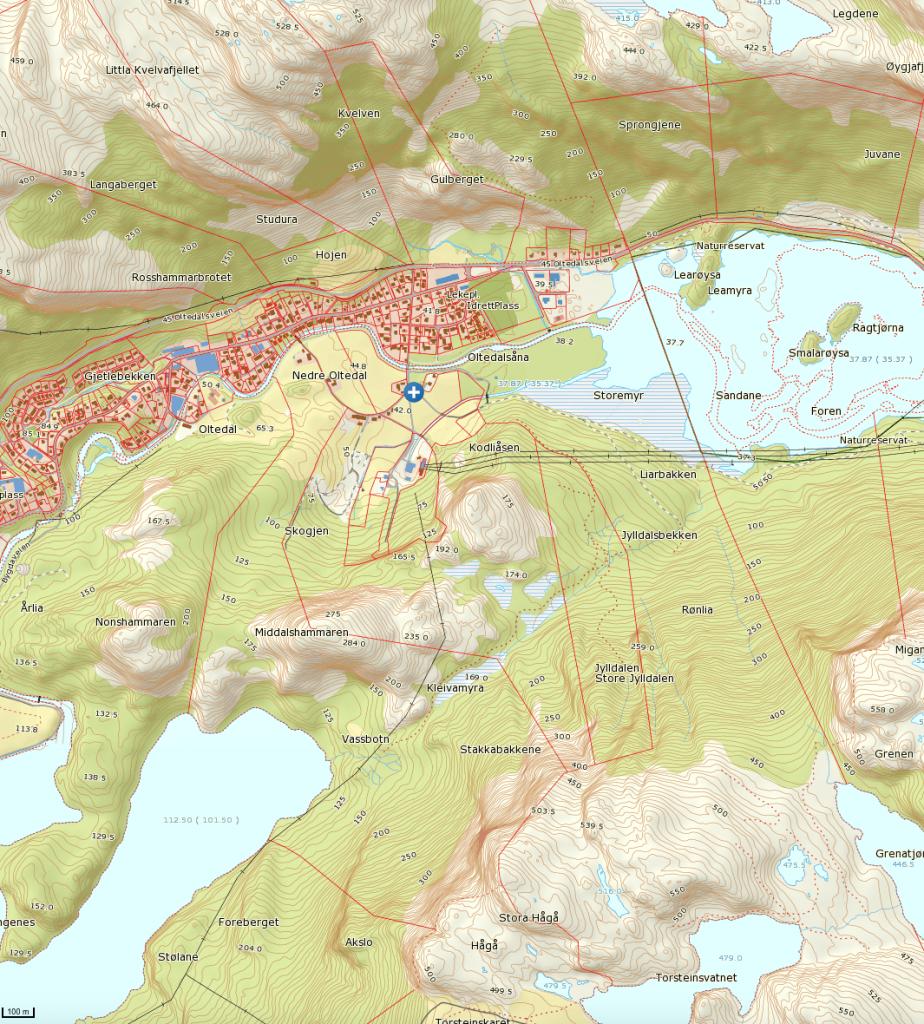 Klikk på kartet for større versjon. Turen starter ved det blå og hvite krysset