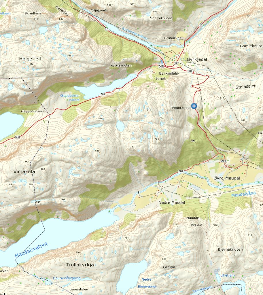 Klikk på kartet for større visning. Turen starter ved det blå og hvite krysset.