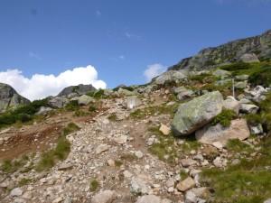 Her tar du av fra fjelltrekket. Maling og stenger viser tydelig vei.