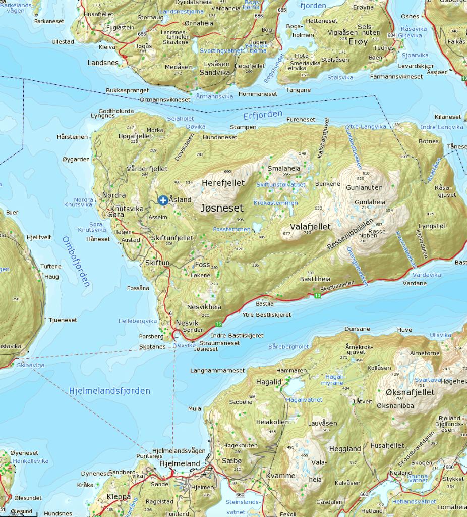 Klikk på kartet for større visning. Turen starter ved det blå og hvite krysset