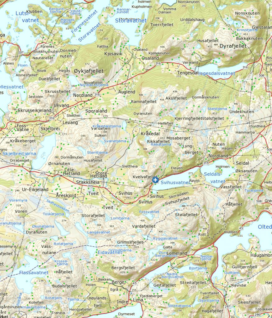 Klikk på kart for større visning. Start ved det blå og hvite krysset