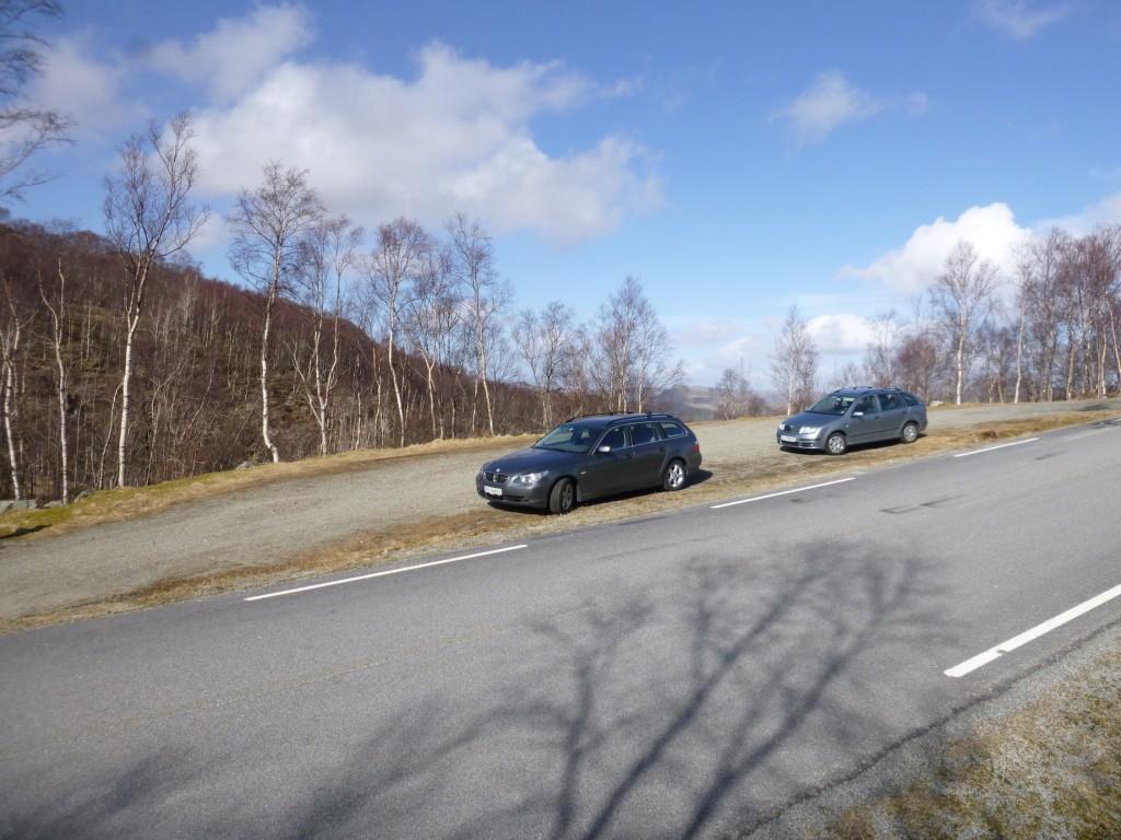 Sånn ser parkeringsplassen ut for denne turen