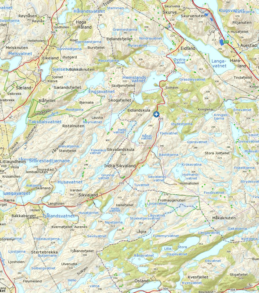 Parker ved det hvite og blå krysset. Klikk på kartet for større og klarere visning.