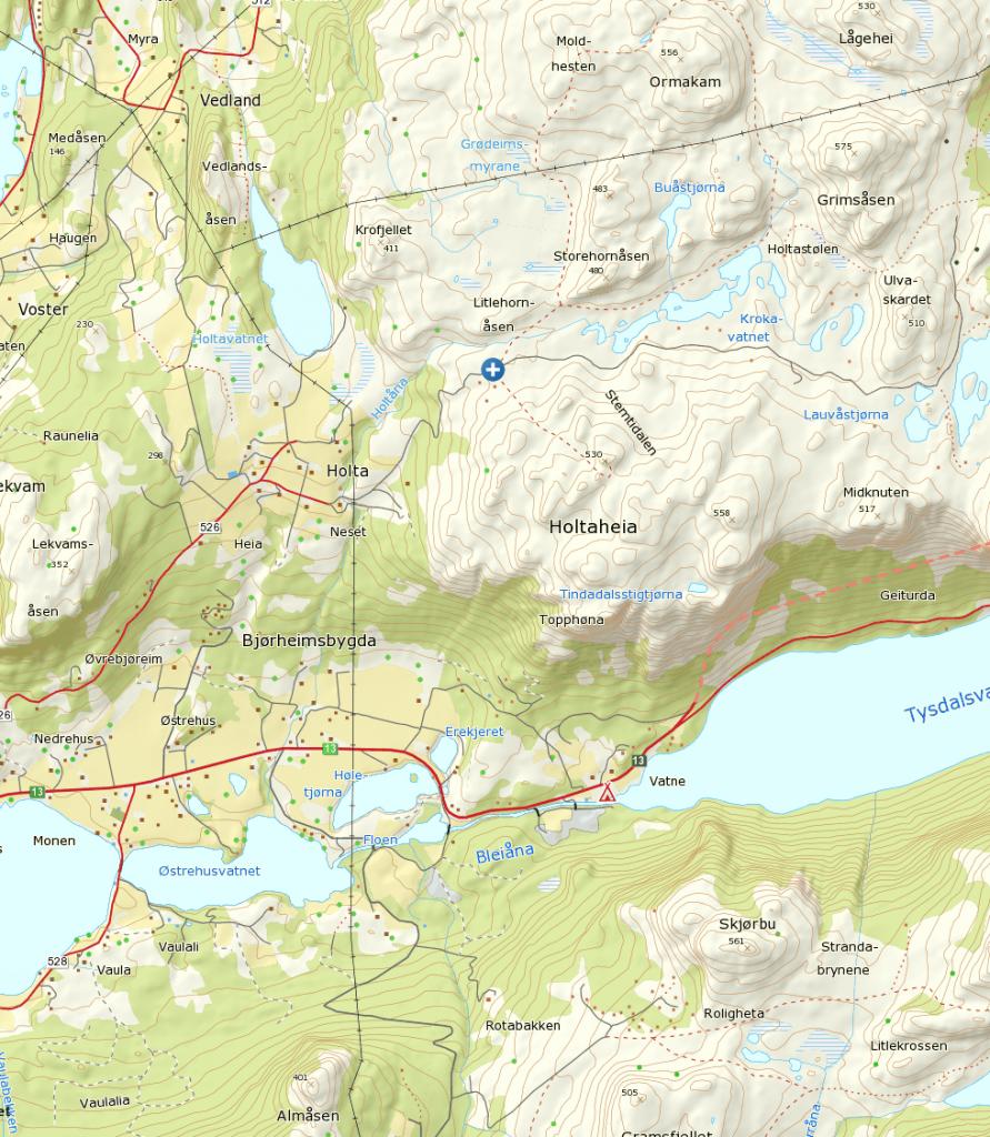 Klikk på kart for større visning. Startpunkt ved blå/hvitt kryss