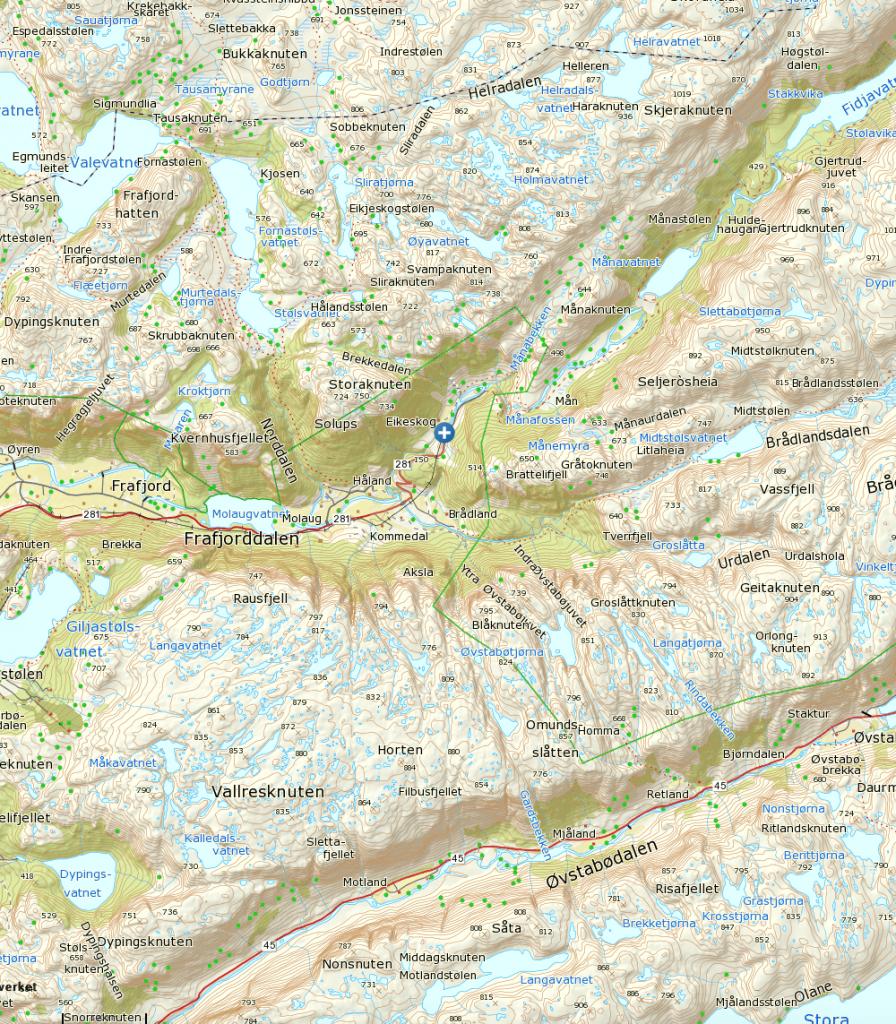 Klikk på kart for større visning. Starpunkt ved det hvite og blå krysset