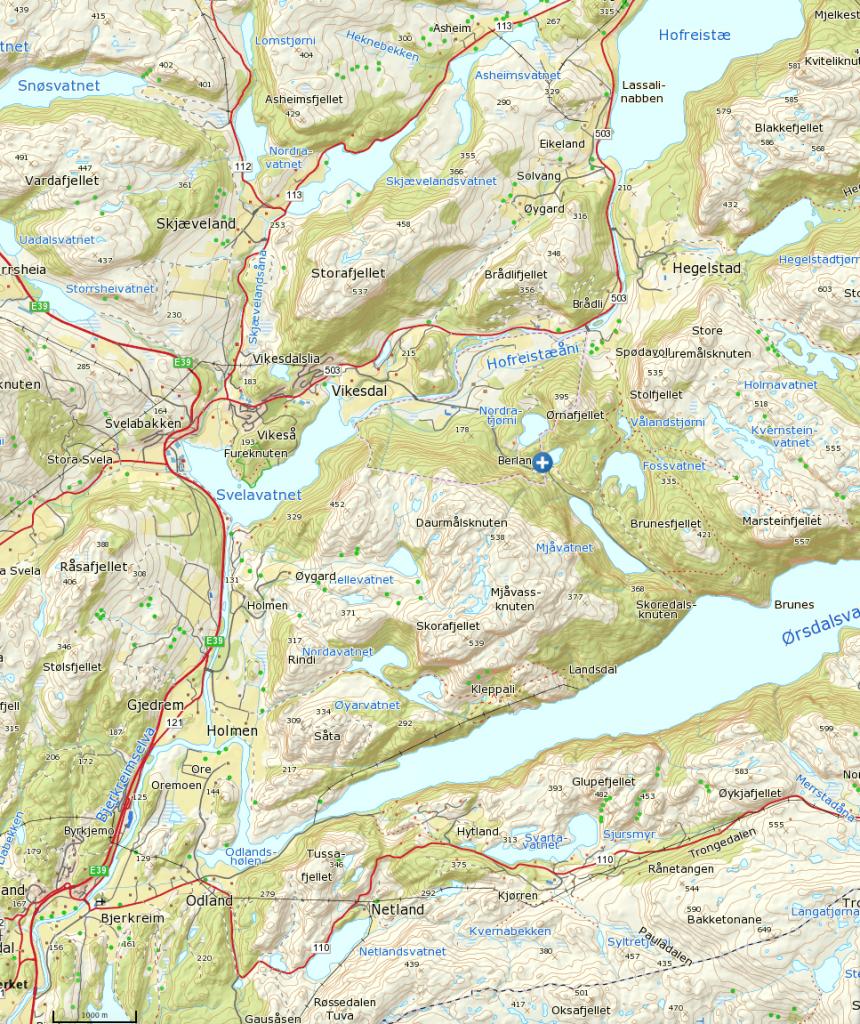 Klikk på kartet for større visning. Turstart ved det blå krysset.