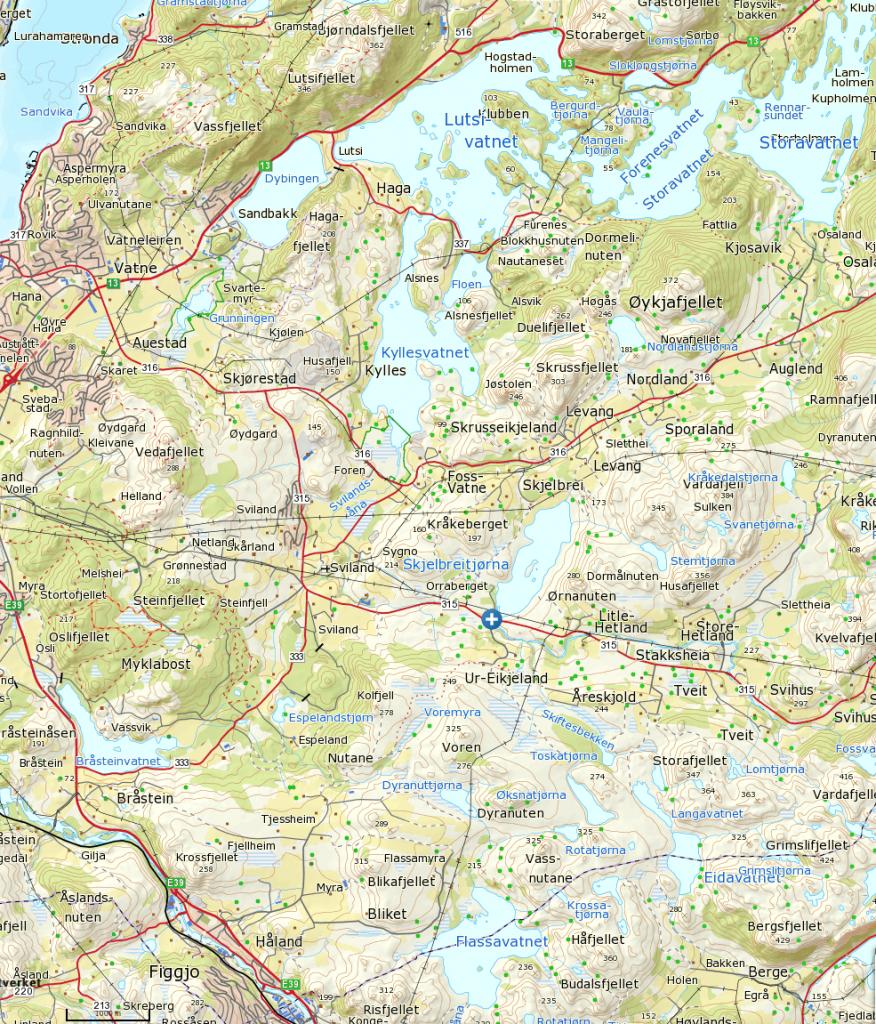 Klikk på kartet for større visning. Start ved blått ktyss