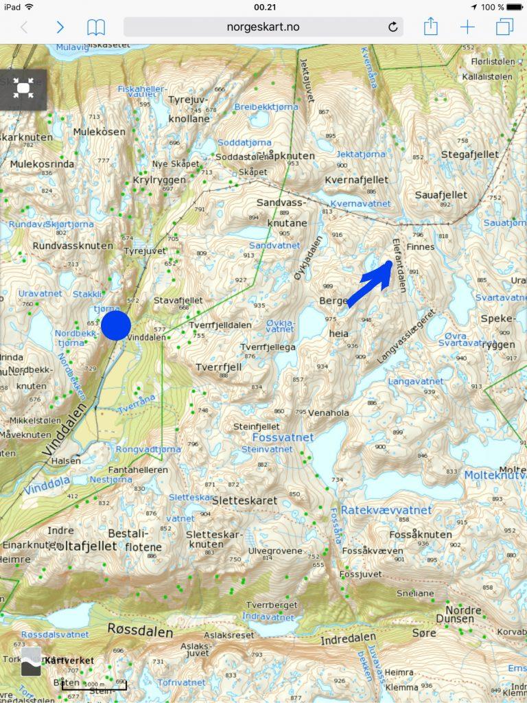 Start ved den blå prikken. Klikk på kartet for større visning.