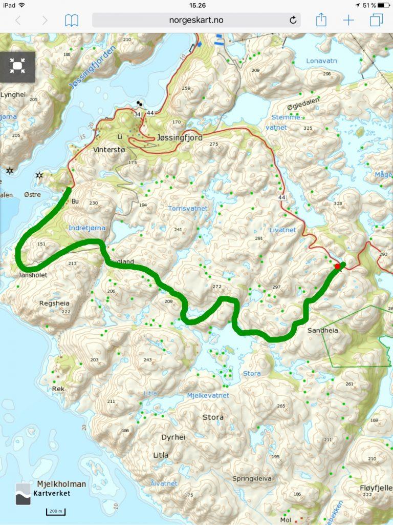 Klikk på kartet for større visning. Start ved den røde prikken